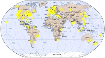 Map of egg locations around the world